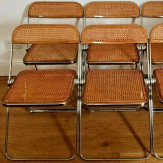 4 Wicker & Walnut GIANCARLO PIRETTI Chairs For Castelli
